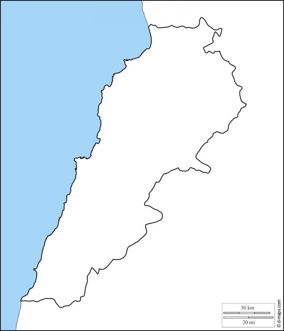 Liban Carte Plan Carte Vierge Du Liban Asie De Louest